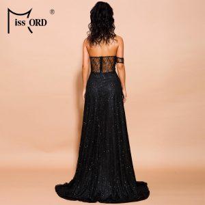 Missord 2021 Summer Women Sexy Off Shoulder glitter Dresses Female High Split Maxi Elegant Backless Dress FT19526