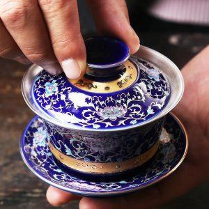 Silver Gaiwan porcelain cup bowl set hand made peony flower lotus ceramic tureen Chinese kungfu tea set gaiwan cup saucer lid