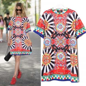 2020 Summer Women Black Blue Floral Printed Beach Dress Plus Size Ladies Cute Straight Sundress Midi Casual Sun Dress Robe 2162
