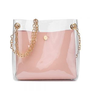 2019 Waterproof Transparent PVC Handbag Women Fashion Shoulder Bag Candy Color Chains Crossbody Bags For Girls Portefeuille#H15