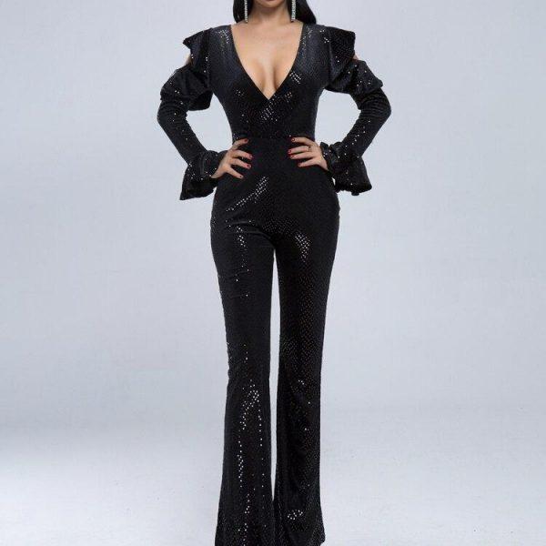 Missord 2021 Women Summer  Sexy Deep V Long Sleeve Rompers Female Elegant Speaker Sleeve  Jumpsuits MQ18982