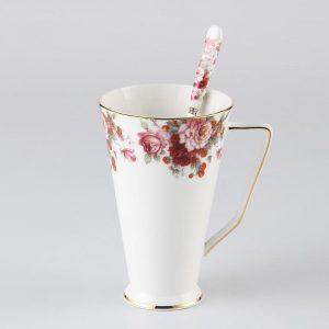 Vintage Bone China Coffee Mug with Spoon Floral Porcelain Tea Mug Europe Ceramic Tumbler Teatime Party Drinkware Dropshipping