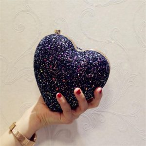Day Clutch Evening Bags Love Heart Shaped Bling Chain Crossbody Shoulder Bag For Wedding Diamonds Lock Purse Party Bags