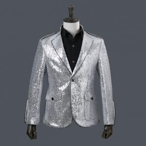 Stand collar flanger men suits designs stage costumes for singers men sequin blazer dance clothes jacket star style dress silver