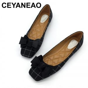 CEYANEAO Autumn Brand Woman Flats Shoes Slip On Women Square Toe Single Shoes Ladies shoes Footwear Zapatos Mujer Plus Size Gray