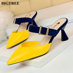 BIGTREE Women's Baotou Slippers Korean Mixed Colors Flock Belt Buckle Slipper Women High Heels Patent Leather Shallow Shoes Sexy