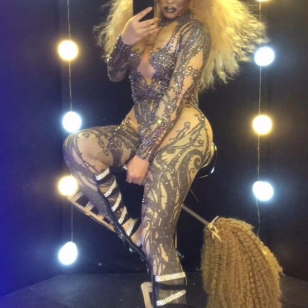 Sexy Stretch Rhinestone Party Jumpsuits Women Nude Crystal Bodysuit Nightclub Cosplay Costumes Dancer Leotard Stage Outfits