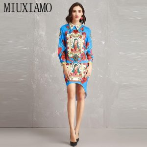 MIUXIMAO Europe Fashion 2019 Spring jumpsuit Newest Casual Diamons Cactus Character Above Knee Two-Piece Dress Women
