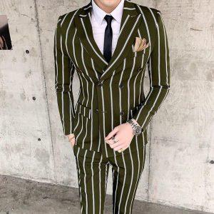 Slim Fit Suits 2 Piece Mens Suits Wedding Groom Suit Ternos Masculinos Tunic Suits Latest Coat Pant Designs Retro Stripe 2019