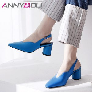 ANNYMOLI Women Slingbacks Shoes High Heels Natural Genuine Leather Block Heels Shoes Real Leather Square Toe Pumps Big Size 3 43