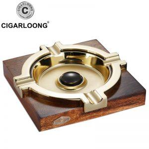 CIGARLOONG cigar ashtray gold plated smoke ashtray tank wood stainless steel Large cigar ashtray AT-114