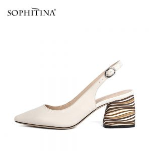 SOPHITINA Sexy Pointed Toe Sandals High Quality Sheepskin Fashion Buckle Comfortable Square Heel Shoes Shallow New Sandals C173
