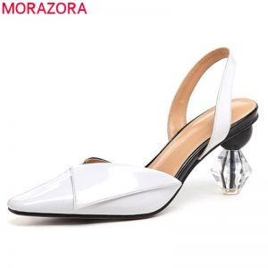 MORAZORA 2019 new arrival unique high heels sandals women patent leather shoes slip on summer sandals party wedding shoes woman