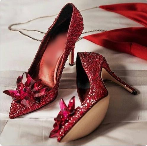 Sexy Red Crystal Wedding Shoes Bride Pointed Toe Cinderella Heels Glittering Rhinestone Pumps Shoes Women Jewelry Flora Pumps