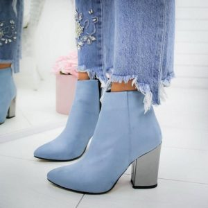 Women Shoes Ankle Pumps Flock Toe Boots Solid Autumn Spring 2020 New High-heeled Shoes Botas Mujer Dropship