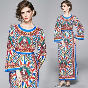 High Quality 2020 Runway Designer O-Neck Full And Flare Sleeve Figure Print Elegant Casual beach dress Long Dress Women vestido