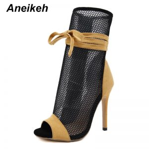 Aneikeh Sexy Open toe Mesh Boots Pumps Shoes Woman Fetish Shoes High Heel Stripper Lace-Up Sandals Boots Party Shoes Thin Heels