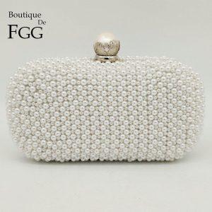 Boutique De FGG Elegant Pearl Clasp White Women Beaded Evening Bags Formal Wedding Dinner Handbags and Purses Bridal Clutch Bag