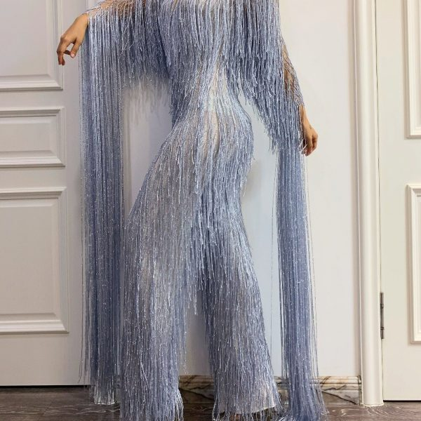 Women Sexy Shiny Silver Grey Tassel Rhinestone Jumpsuit 2021 Birthday Celebrate Stage Singer Costume Party Show Tights Rompers