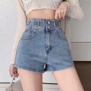 2021 New Summer Women Sexy Shorts with High Waist Button Solid Denim Shorts Femme High Street Blue Skinny Shorts