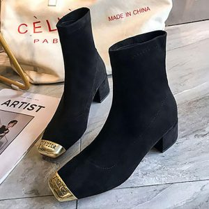 HOT New Stretch Socks Boots Women Shoes Slip Ankle Boots Spring Winter Elegant Square High Heels Shoes Female Plus Size 35-39