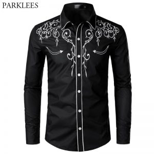 Stylish Western Cowboy Shirt Men Brand Design Embroidery Slim Fit Casual Long Sleeve Shirts Mens Wedding Party Shirt for Male