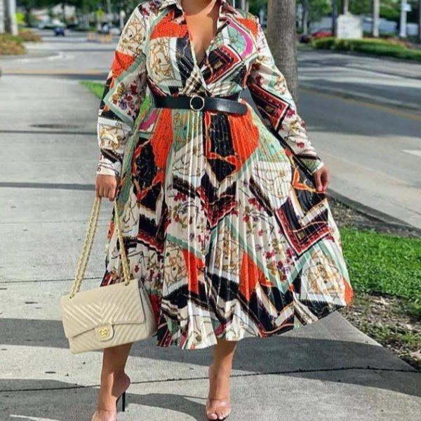 Plus Size African Clothes Women Summer Maxi Dress Vintage Belt Print Long Sleeve Boubou Africain Femme Vestidos 2020