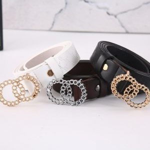 Women Belt cow leather Alloy Pin Buckle Belt Double Ring Gold silver Buckle  Fashion High Quality Dress Belt