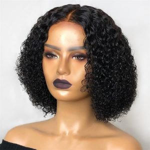 Kinky Curly Hair Wigs Natural Part Synthetic Hair Women Wigs 180% Density Machine Made Wig Short Bob Wig