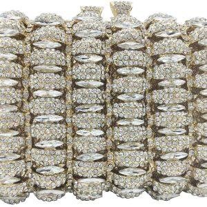 Boutique De FGG Elegant Women Evening Bags and Clutches Bridal Wedding Rhinestone Box Minaudiere Purses Party Handbags