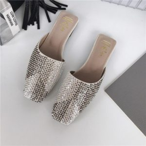 2020 New Women's Slippers Fashion Outdoor Square Toe Rhinestone Flats Slippers Lazy Slides Mules Slippers Flats Beach Shoes