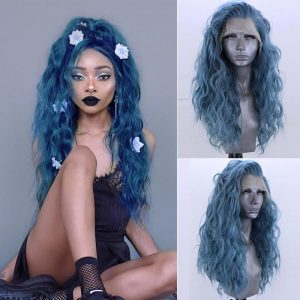 Charisma Blue Wigs Synthetic Lace Front Wig with Baby Hair High Temperature Hair Water Wave Wigs for Black Women Cosplay Wig