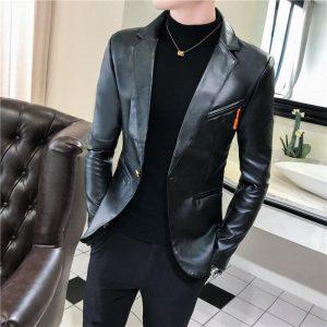 Faux Leather Suit Jacket Men Korean Slim Fit Coat Blazer Men White Red Black Fashion Streetwear Blazer Jackets Male Hot Sale