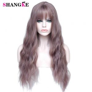 SHANGKE Long Mix Purple Womens Wigs With Bangs Heat Resistant Synthetic Kinky Curly Pink Green Wigs for Women African American
