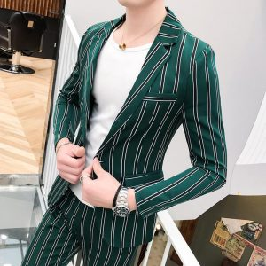 New Mens Suit (jacket+pants) Luxury Stripe Single Breasted Mens Wedding Suits Fashion Slim Fit Party Prom Male Suit With Pants