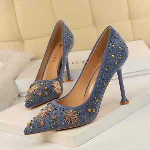 Women shoes 2019 high heels Golden pearl crystal Rhinestone pointed toe Suede sexy pumps fashion kitten heel ladies shoes