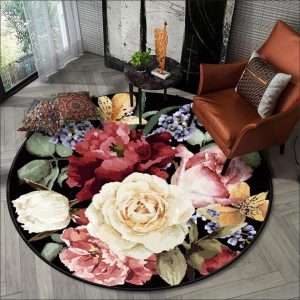 Wishstar 3D Floral Carpet Luxury Vintage Europe Flower Round Carpet Area Rug Black Floor Mat Dining Room Decor