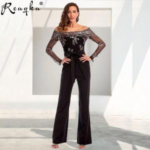 Sexy Sequins Patchwork rompers womens jumpsuit baby women 2020 Summer Elegant long sleeves Backless Party Playsuits Overalls New