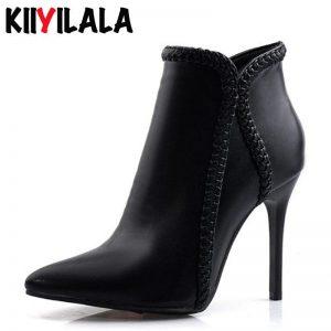 Kiiyilala Pointed Toe Side Zipper Women Boots Ladies Fashion Boots New Autumn Winter Spike Heels 10 cm Women Booties Plus Size