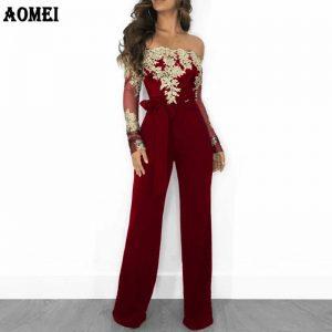 Women Overalls Jumpsuit Autumn Lace Tulle Off Shoulder Slash Neck Gold Embroidery Waistbelt Elegant Femme Office Casual Clothing