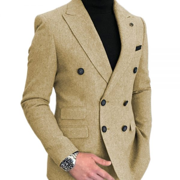 Formal Men's Wool Suits Bussiness Jacket Prom Tuxedos One Piece Double Breasted Patterned Blazer for Wedding Groomsmen