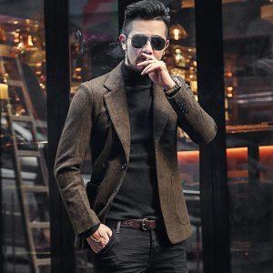 Men Autumn and Winter New Dark Blue Texture Woolen Suit Blazer Men's Casual England Style Slim Gentlemen Business Suit F196-3