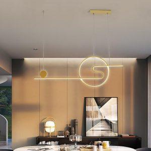 LED Chandelier White Black Gold Dining Room Round Hanging Light Restaurant Bar Coffee Shop Minimalist Modern Long Pendant Lamp