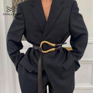 Wild ladies belt women belt light luxury personality curved metal horseshoe buckle large U-shaped fashion x209