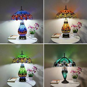 American Pastoral Tiffany Bedroom Bedside Lamp Decorative Table Lamp European Mediterranean Warm Living Room Study Table Lamps