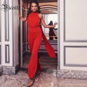 VC Free Shipping Women Red Jumpsuit Sexy Off The Shoulder Sleeveless Celebrity Christmas Party Rompers