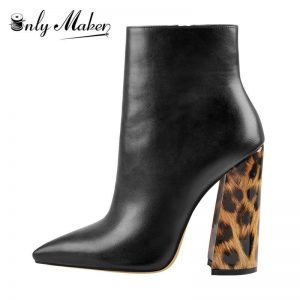 Onlymaker Women's  12CM Leopard Pointed Toe Chunky Heels Ankle Boots Side Zipper High Heel Thick Booties for Autumn