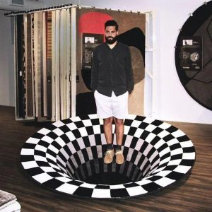 3D Round Carpets for Living Room Simple Black&White 3D Stereo Vision Carpet Anti-Skid Area Rugs Luxury Home Bedroom Floor Mat