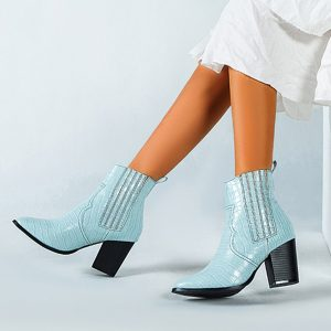 Snakeskin Women's Wild Sexy Chelsea Boots Pointed Leather Ankle Boots Lady Stylish Autumn High Heel Shoes High Street Short Boot