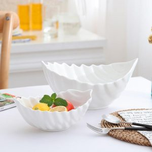 Creative Pure White Ceramic Bowl French Soup Pasta Bowl Fruit Salad Bowl Western Food Bowl Household Large Tableware Bowl Dishes